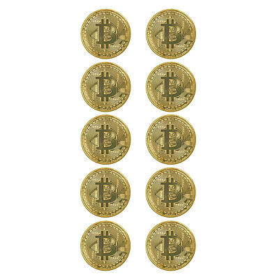 10PCS Bitcoin Commemorative Round Collectors Coin Bit Coin is Gold Plated Coin E