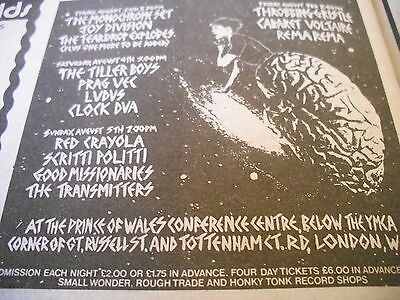 "Joy Division 1979 ""prince Of Wales Conference"" Gig Advert  + Other Bands"