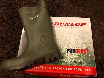 New E462 843 PUROFORT BOOT DUNLOP FULL SAFETY TOE, GREEN W/ BROWN SOLE Men's 11