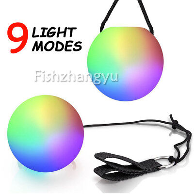 4X Light Up Poi Balls Colors LED Glow POI Thrown Ball Belly Dance Hand Prop GIFT