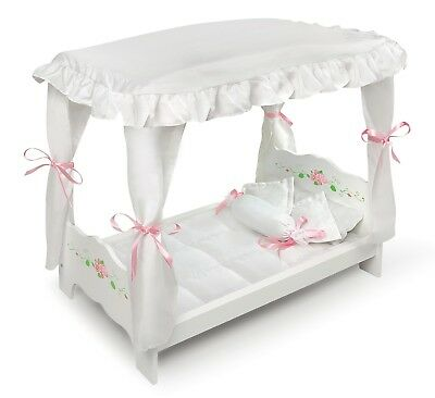 "Kids Girls White w/ Pink Rose Doll Canopy Bed Furniture for 18""- 20"" Inch Dolls"