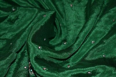 Indian Culture Vintage Dupatta Pure Silk Green Scarves Hand Beaded Veil Stole