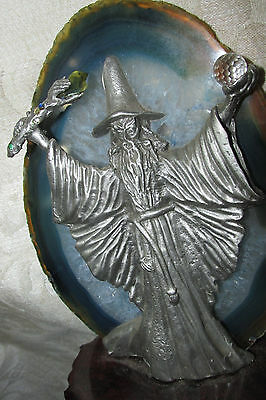 Pewter Wizard w/ Crystal Ball & Wand / Staff on Agate Stone Figurine &Wood 19CmL