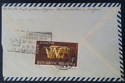 1954 Vietnam Airmail Cover ties $4 Airmail stamp canc Saigon to South India