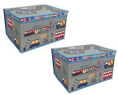 2 x Storage Box Collapsible Jumbo Folding Storage Chest Kids Toy Travel Design