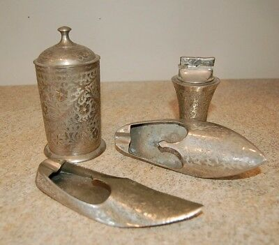 Vintage 4 Pc. Smokers Set. Silver Plated Ash Trays Lighter Cigarette Canister