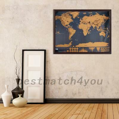 Deluxe Large Scratchable Off World Map Personalized Travel Poster Travel Decor