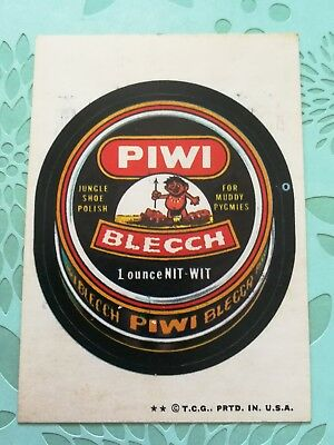 Wacky Packages Card Piwi Blecch Jungle Shoe Polish Tan Back 1974
