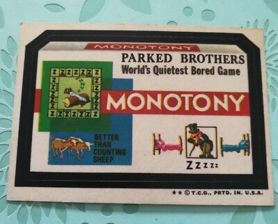 Wacky Packages Card Parked Brothers Monotony Bored Game Tan Back 1974