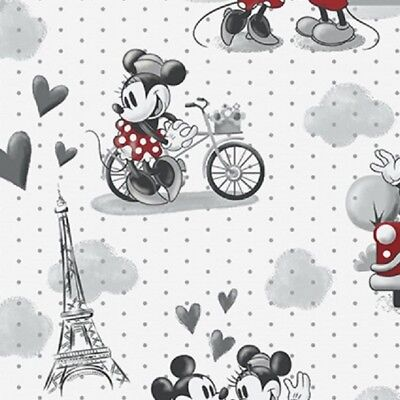 Disney Mickey & Minnie Mouse Vintage Scenes Romance Cotton Quilting Fabric 1/2YD