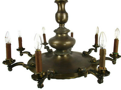 Antique Jugendstil Bronze French Empire Pan Chandelier  8 arms Huge Heavy  HTF