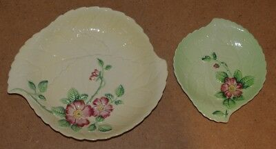 ### Two Vintage Carltonware Australian Design Wild Rose Leaf Dishes ###