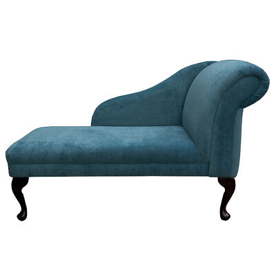 "45"" Small Chaise Longue Lounge Sofa Seat Chair Teal Danza Fabric Queen Anne UK"