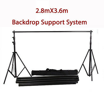 3.6Mx2.8M HEAVY DUTY BACKDROP STUDIO SUPPORT SYSTEM KIT TRIPOD ADJUSTABLE W/ BAG
