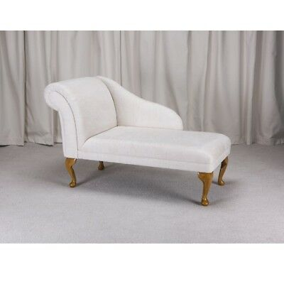 "45"" Small Chaise Longue Lounge Sofa Bench Seat Chair Woburn Oyster Fabric UK"