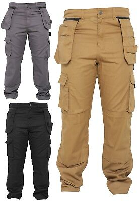 Mens Work Trousers Removable Holster Zip Pockets Worker Cargo Working Pants