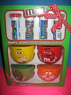 M&m's Brand Character Bowl Gift Set With 4 Tubes Of Candy- Brand New -Rare