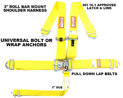 "Universal Racing Harness 5 Pt Sfi 16.1 Roll Bar Mount 3"" Latch & Link Yellow"