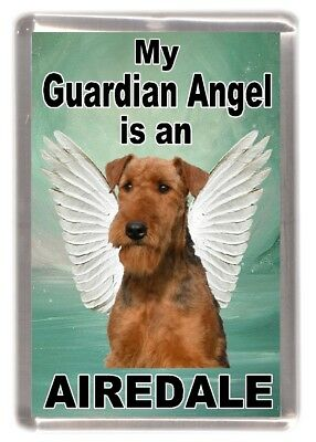 """Airedale Terrier Dog Fridge Magnet """"My Guardian Angel is an ..... """" by Starprint"""