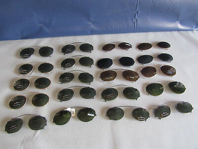 NOS Set of 20 Large Lot of Vintage Metal Wire Frame Clip-On Sunglasses ISSUES