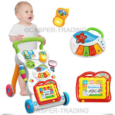 2 In 1 First Steps Baby Walker Sounds and Lights Music Fun Push Along Walker Toy