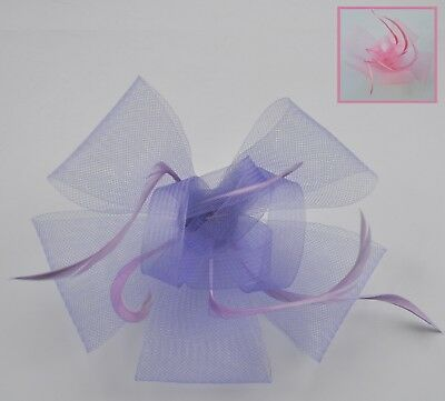 Lavender/lilac or soft pink mesh & feather fascinator hair clip/corsage. Wedding