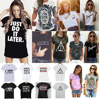 Women Summer Casual T-Shirt Short Sleeve Graphic Loose Top Tee Blouse Plus Size