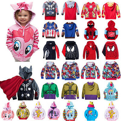 Toddler Kids Boys Superhero Hooded Jacket Coat Hoodie Cartoon Sweatshirt Outwear