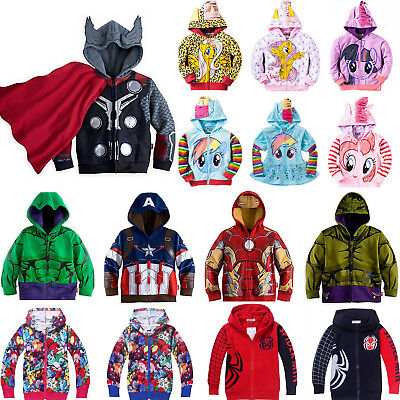 Boy Girl Kids Superhero Cartoon Hoodies Hooded Sweatshirt Jacket Coat Jumper Top