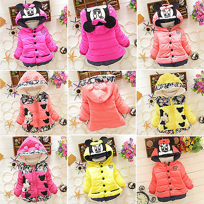 Toddler Kids Girl Mickey Minnie Hooded Coat Winter Warm Thicken Jacket Outerwear
