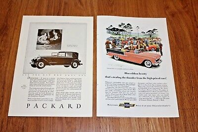 Lot Of 2 Vintage Car Ads 20S 50S Chevrolet Packard
