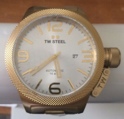 50a9d3ce792 TW Steel - Canteen - Mens Gold Tone 50mm Automatic Watch with Silver Dial  CB86