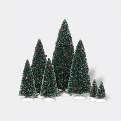 Dept 56 DECORATED SISAL TREES SET OF 7 RED BEADS NEW! 53621