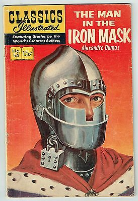 CLASSICS ILLUSTRATED #54 THE MAN IN THE IRON MASK - Dec 1948 - VG