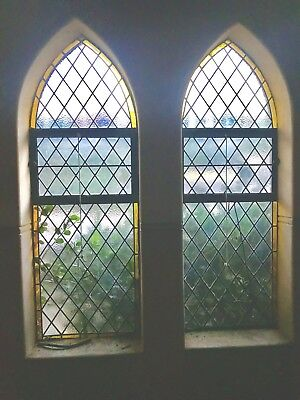 Historical Antique Stained Glass Lead Light Church Windows x 2