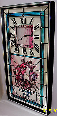 WOLFSCHMIDT VODKA WALL CLOCK Battery Operated-Simulated Stained Glass- 24x12 USA