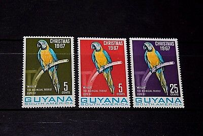Guyana 1967 Macaw Parrots S/set Of 3 Mint M/n/h