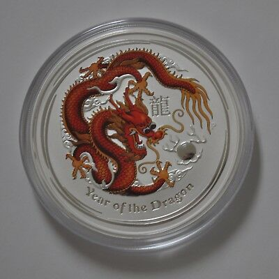 2012 Silver Dragon 5 oz .999 Colorized Coin Perth Mint Australia, from Mint Roll