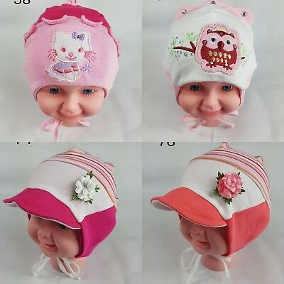 c40ebd20ac5 Girls Baby Infant Spring Hat Cotton Stretchy Beanie Lace Up Tie Up 1-3 Years