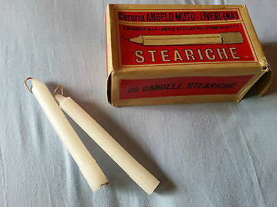 Scatola epoca 20PZ CANDELE STEARICHE Cereria MUTO - GIACENZA VINTAGE Old Candles