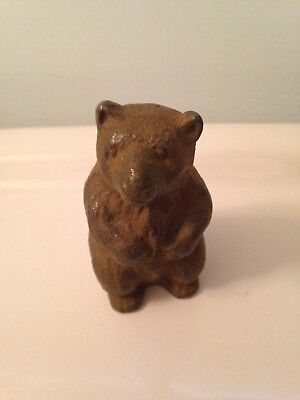 vintage Heavy Cast Iron Grizzly Bear Miniture Paper Weight