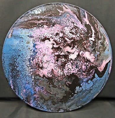 "Original Fluid Acrylic Pour Abstract Painting on Round 12"" Vinyl Record"