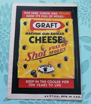 Wacky Packages Card Graft Cheese Tan Back 1974 2 Star Card
