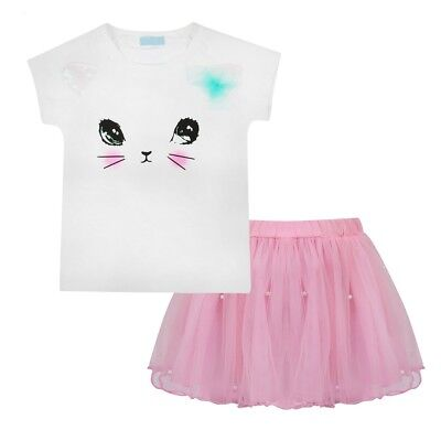 Girls Pretty Pink Clarissa The Cat Face T-shirt and Tutu Holiday Clothing Set