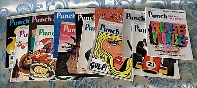Vintage LOT of 13 Punch Magazines from September 1970-January 1971 - Full Issues