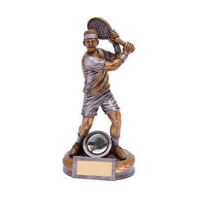 Resin Male Ace Tennis Figure Trophies Player Awards 2 sizes FREE Engraving