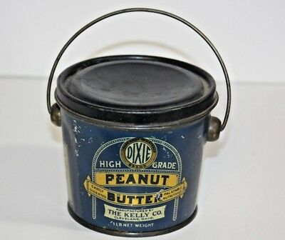 Vintage One Pound Dixie Peanut Butter Tin Kelly Company Cleveland Ohio