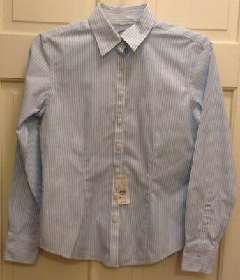 2 Women S Brooks Brothers Shirts Sz 12 Ls Fitted Purple Blue No