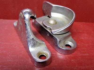 1 Very Heavy Nickel Over Cast Brass Mid-Century Window Lock #01