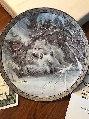 Winter Lullaby Collectors Plate (Wolves) Bradford Exchange By Duane Geisness